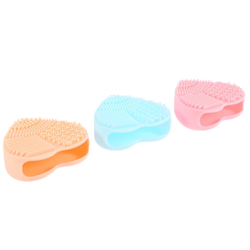 Silicona de cepillo del maquillaje estera de limpieza de cepillo cosmético lavado Pad Corazón-forma del cepillo del depurador de 3 colores