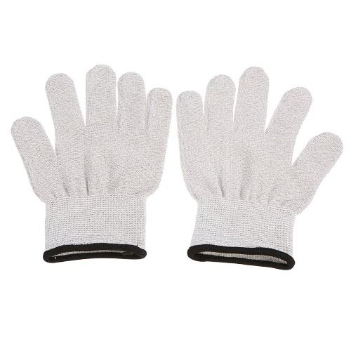 Проводящий перчатки 1 пара электродов перчатки для мышц Импульсный массаж Физиотерапия Электротерапия Массаж перчатки Серебряный токопроводящих волокон