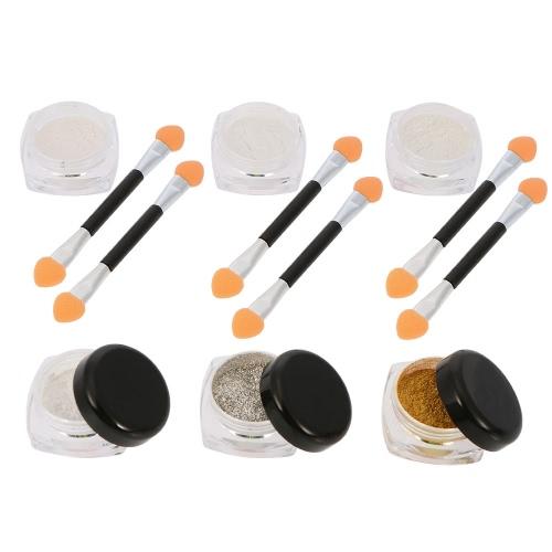 Nagel-6 Farben-Spiegel-Puder-Nagel-Puder Spiegel Nagel-Funkeln-Metallic-Nagel-Puder-Nagel-Dekoration-Puder-Werkzeug