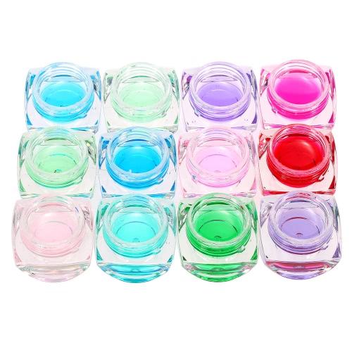 12 cores transparentes Estilo 8ml Gel de vidro UV Nail Art Soak Off Gel Cor de vidro Gel Nail Polish Extensão Gel Manicure Decoração