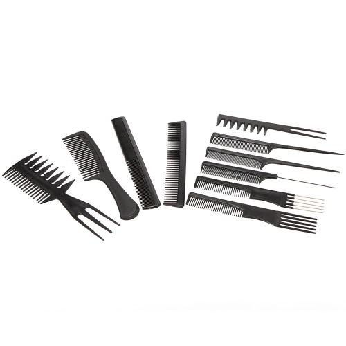 Pro 10pcs peines Kits Salón Peluquería cepillo para el pelo contra la electricidad estática peine Cuidado cepillos para el cabello herramientas del conjunto