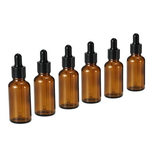 6pcs 30ml Tawny garrafas de óleo essencial de vidro Dropper Bottle Jars Round Head Essencial Jars Oil Com Pipeta