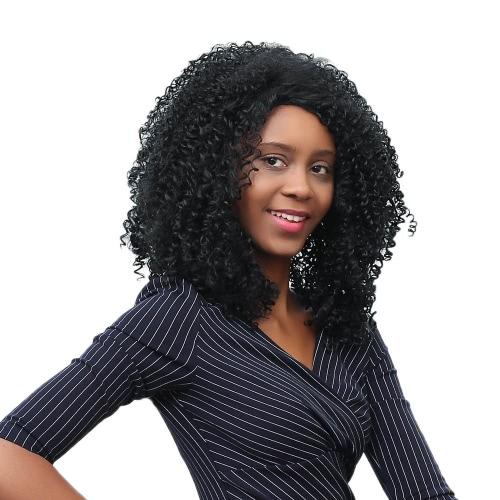 17 ''女性ロングカーリーヘアウィッグ合成繊維ウィッグシャギーレースキャップとカーリーかつら女性ブラックファッションウィッグ