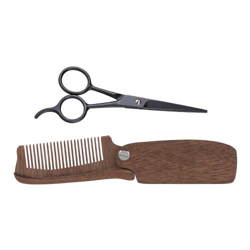 2Pcs Men's Beard Comb Scissor Set Amoora Foldable Beard Comb + Stainless Steel Scissor Male Facial Hair Comb Set