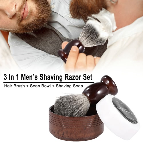 3 In 1 Men��s Shaving Razor Set for Dry or Wet Shaving Badger Hair Brush + Soap Bowl + Shaving Soap Male Facial Clean Tools Beard Shaving Kit Barber Set