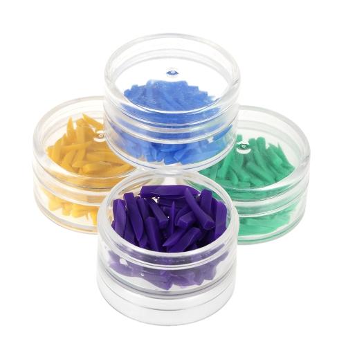 400Pcs Materiais odontológicos descartáveis Cunhas dentárias plásticas 4 cores Verde azul roxo Ferramenta de dentista amarelo