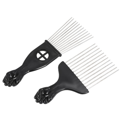 2Pcs Mental Pick Comb African American Afro Comb Hair Brush Cabeleireiro Styling Tool Black Fist