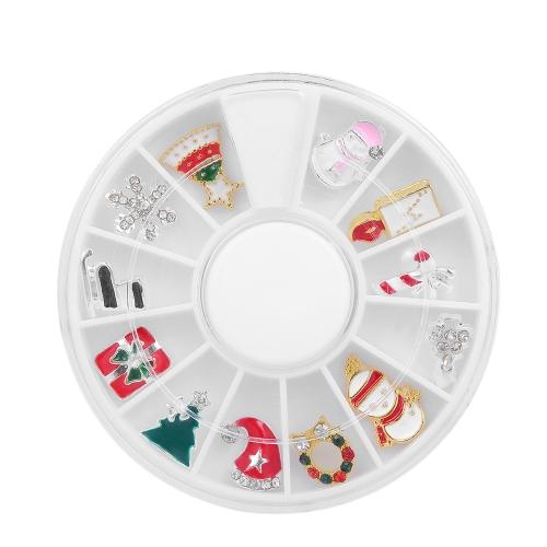 12 Stück 3D Weihnachten Legierung Schmuck Glitter Strass Nail Art Stud Dekorationen