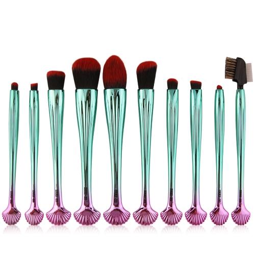 10pcs Shell Косметические кисти для макияжа Set Foundation Power Contour Eye Shadow