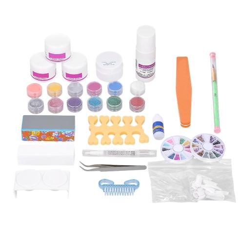 Nagelkunstwerkzeuge Kit Professionelle Französisch Nagelspitzen Acryl Glitter Flüssige Pulver Stift Kleber Öl Maniküre Dekorationen