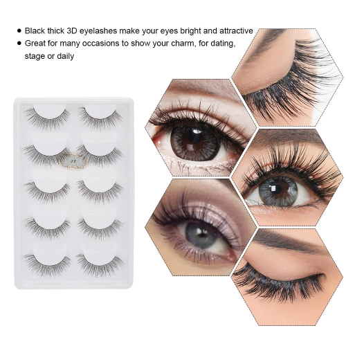 5 Pairs Natural False Eyelashes Long Thick Fake Lashes 3D Extension Eyelash Soft Handmade False Eyelash