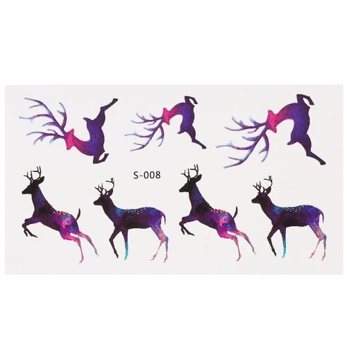 Мода Водонепроницаемая татуировка животных наклейки Волк Спайдер Сова Кошка лошади Fawn Body Art Татуировка Pattern