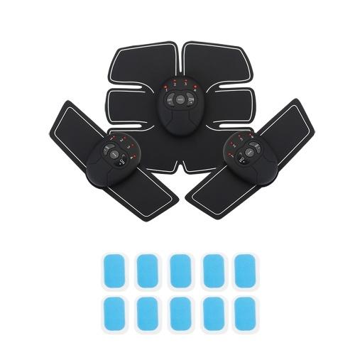 Schwarze Oberfläche Silver Edge Smart Fitness Kit Househeld Elektrische Bauchmuskelmaschine Stimulator ABS EMS Trainer Fitness Gewichtsverlust Körper Abnehmen Massage Ausgestattet mit 10 stücke