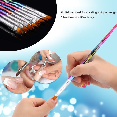 8 Pcs/Set Nail Art Design Brush Professional Tool Kit Paint Pen For Fake Nail Tips Nail Polish UV Gel Nail Brush Paint