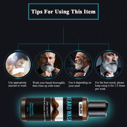 OALEN 100ml Beard Shampoo & Softener Beard Wash Cleanser & Conditioner For Man Care Deep Cleansing W6967