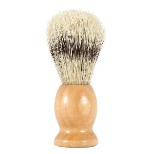 Щетиной для бритья с деревянной ручкой мужских бритья кисти для бритвы мужского лица Щёточка для бороды желтая ручка