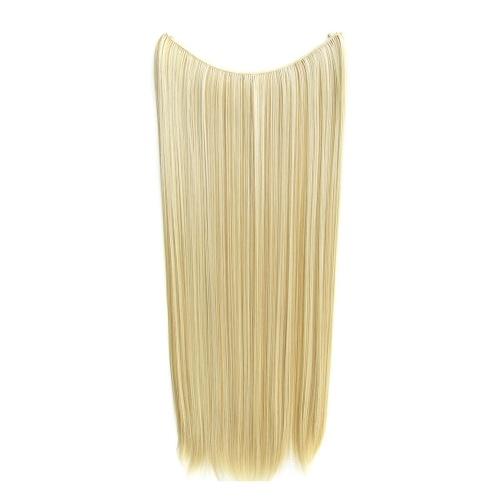 Extensiones de cabello de una pieza sin clip, largo y recto, postizo