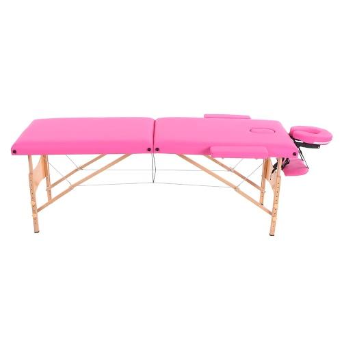 Abody portátil Mesa de masajes 84''L cama de masaje 2 Terapia Fold SPA facial cama tatuaje del salón de belleza Dispositivo Rosa