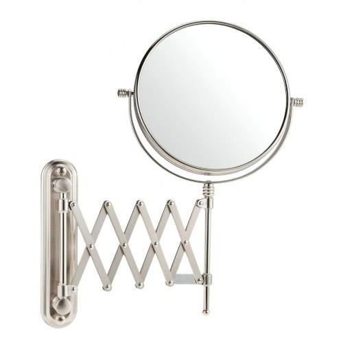 8インチ7X倍率ウォールマウント浴室伸縮回転式折りたたみラウンドダブルデュアルファミリーホテルのためのメイクアップシェービング化粧用の鏡をぶら下げ両面