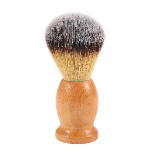 Men Nylon Shaving Brush punho de madeira Facial ferramenta Pincel de barba barbear para Navalha Masculino escova de limpeza da cara