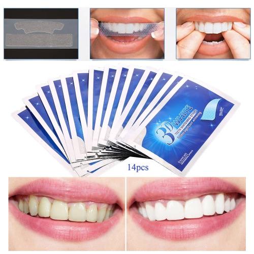 28Pcs 3D отбеливание зубов Двойной эластичный гель для отбеливания зубов полоски