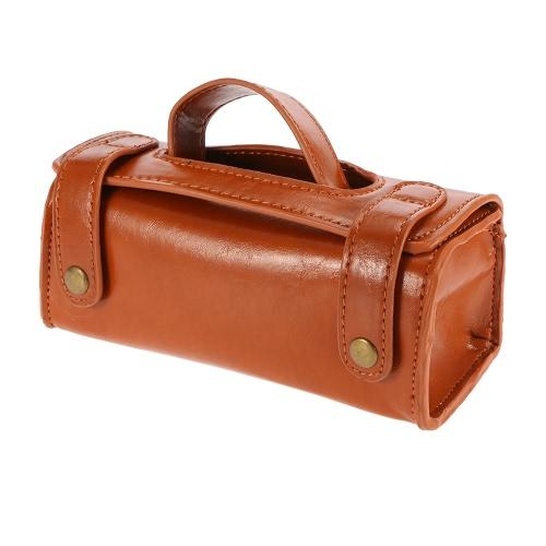Caso de lavado cuero de la PU del viaje Neceser de afeitar organizador del bolso de Brown oscuro para protege la máquina de afeitar de afeitar de contenedores regalo