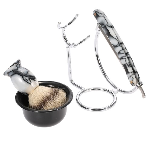 Raspar Razor Set Anself 4 em 1 Men Pure Badger Shaving Brush + Stainless Steel Shaving stand + Shaving Soap Tigela + Navalha Masculino Shaving Facial & ferramenta de limpeza