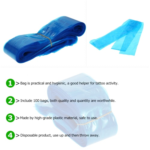10Clip Cord Sleeves Bags Disposable Covers for Tattoo Machine Plastic Blue, TOMTOP  - buy with discount