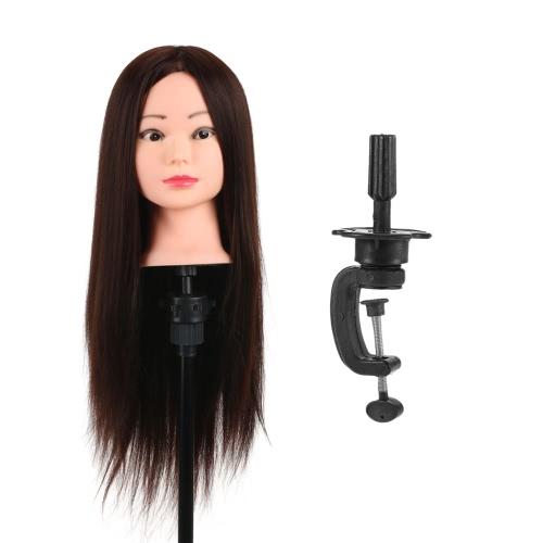 Leiter Training 80% reales Menschenhaar Manikin Kopf Friseursalon Dummy Kopf Salon Kopf + Haarklemmhalter für Haar-Praxis