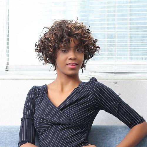 Frau kurzes, krauses Haar-Perücken synthetische Faser Perücke mischte Farben Curly Toupet für Partei und Zeitskleidung