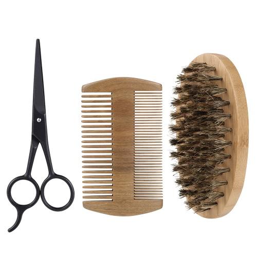 3Pcs Мужская борода Brush Comb Scissor Kit Кабанская щетина Щетка для бритья + свиная борона Verawood Comb + Нержавеющая сталь с ножницами для мужчин