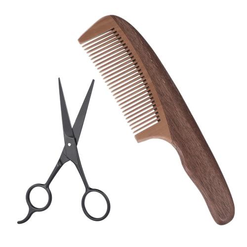 2Pcs Men's BeardComb Scissor Set Amoora Pearwood Beard Comb + Stainless Steel Scissor Male Facial Hair Comb Set W5018
