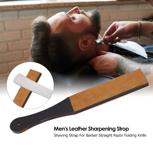 Men's Leather Sharpening Strop Shaving Strap For Barber Straight Razor Folding Knife Sharpener Belt Handmade Acrylic Handle