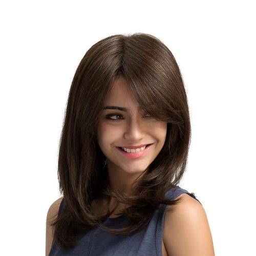 "19 ""Brown Long Straight Hair Perucas Natural High Density Hairpiece Resistente ao calor Synthetic Women Girl Cosplay"
