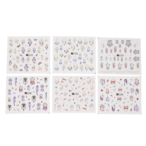 12pcs Nail Art Stickers Decal Dream Catcher Flower Water Transfer Mixed Pattern Manicure Decoration