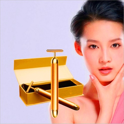Women 24K Golden  Massage Bar Fashion Anti Wrinkles Face Massager Electric Improve Skin Firmness & Vitality Skincare Tools