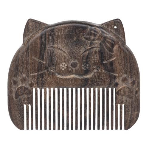 1pc Peine de madera de sándalo natural antiestático tallado a mano patrón de gato exótico cuero cabelludo masaje