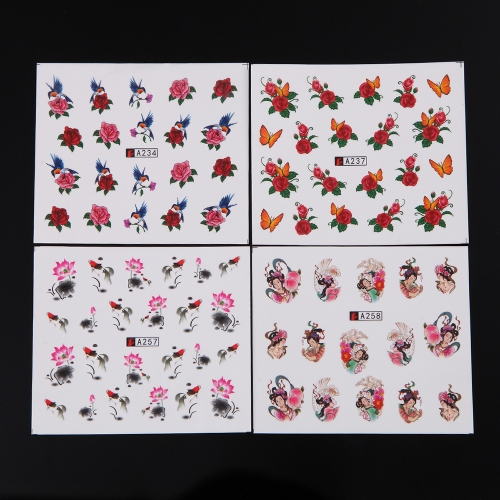 50 Sheets Nail Sticker Set Mixed Butterfly Flower Pattern Nail Paper Tip Nail Art Styling Set DIY Watermark Manicure