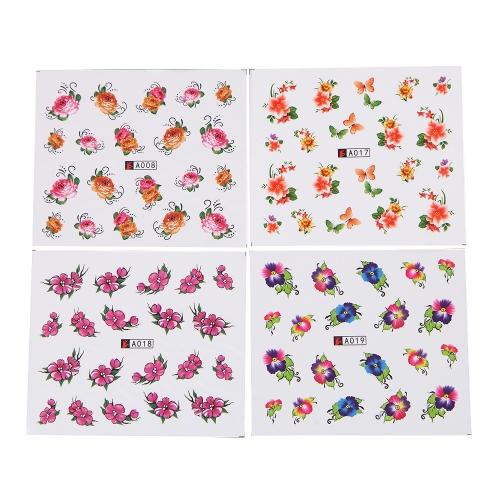 50 Hojas Conjunto de Pegatinas de Uñas Patrón de Flor de Mariposa Mixta Punta de Papel de Uñas Juego de Uñas de Arte de Uñas Marca de Agua de Manicura