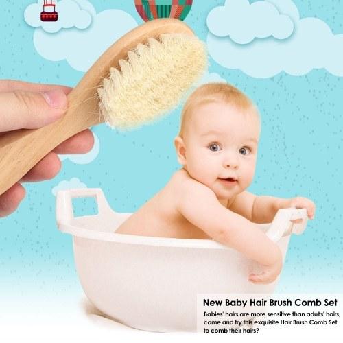 New Baby Hair Brush Comb Set Wooden Handle Newborn Baby Hairbrush Infant Comb Soft Wool Hair Scalp Massage