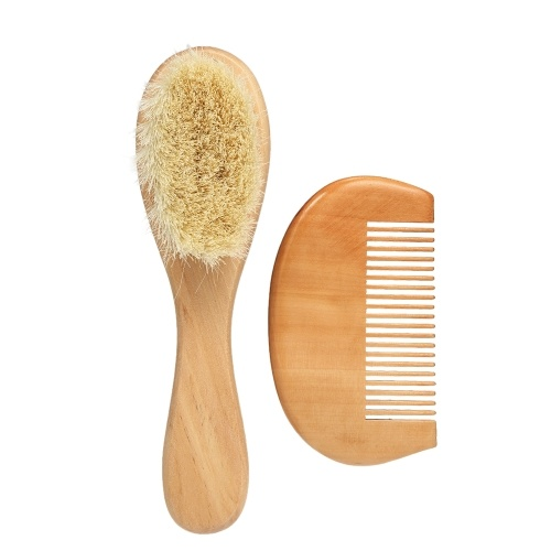 New Baby Hair Brush Comb Set Wooden Handle Newborn Baby Hairbrush Infant Comb Soft Wool Hair Scalp Massage