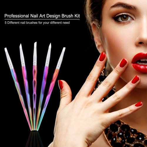 Tomtop Set Of 5 Nail Art Design Brush Professional Tool Kit Paint