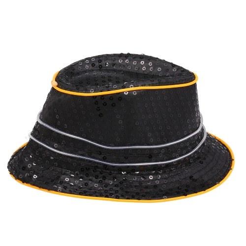 Cool Bling Cekiny LED Rozjarzony świecący hip-hopowy kapelusz jazzowy