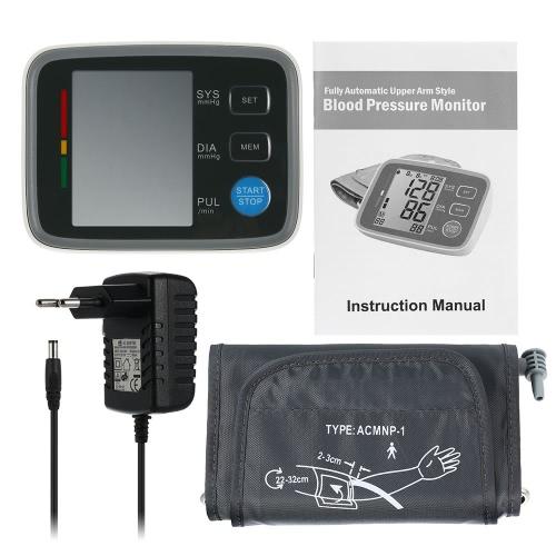 Digital automático de pressão arterial Monitor Pro braço manguito Tonometer Hematomanometer esfigmomanômetro Pulsometros taxa Monitor cardíaco para o sangue do coração W / tela de LCD
