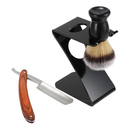 Afeitado maquinilla de afeitar tejón Set afeitado cepillo de pelo 3 en 1 hombre plegable afeitando la maquinilla de afeitar titular masculino Facial limpia herramientas Kit Blaireau brocha de afeitar