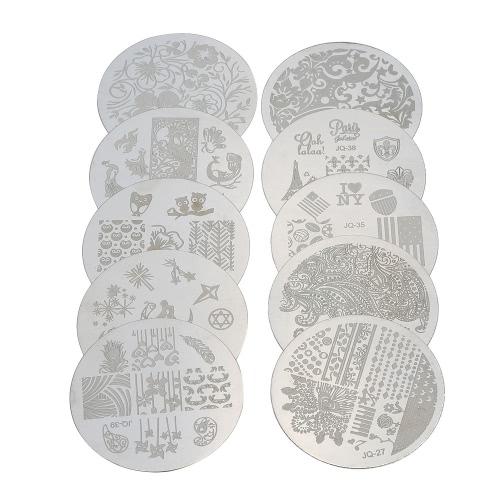 Nail-Art-Bild Stamping Polish Drucken Teller Maniküre-Nagel-Stamper Schaber Set Printing Muster Stamp neue Art und Weise DIY Nagel-Kunst-Werkzeuge