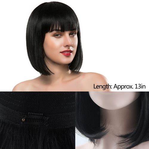 Real Human Hair Wigs Woman Short Straight Hair Girl Black Hairpiece Hair Extension Cosplay Hair Hairdressing Tool