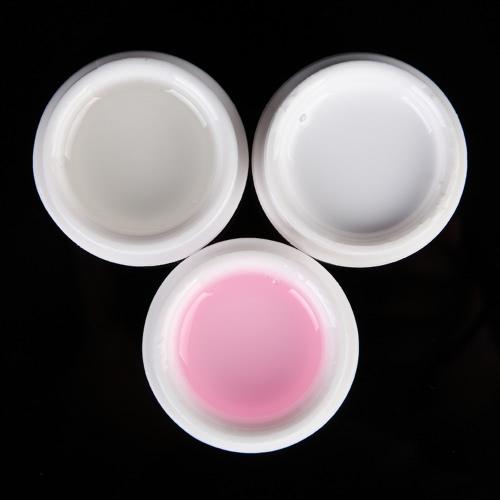 Rosa herramienta 3pcs nuevo profesional del constructor Consejos Extensión UV Gel fototerapia uñas de manicura del gel del arte blanco polaco Clear Color
