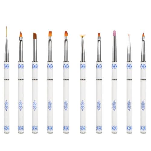 Anself Nail Art Pinsel Kit Nail Art Design Pen-Set 10Pcs Punktierung Malerei Polnisch-Bürsten-Kit Nylonhaar
