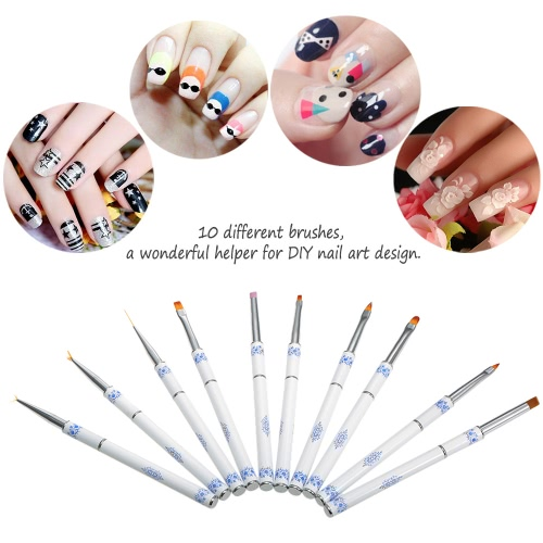 Anself Nail Art Brush Kit Nail Art Design Pen Set 10Pcs Dotting Painting Polish Brush Kit Nylon Hair